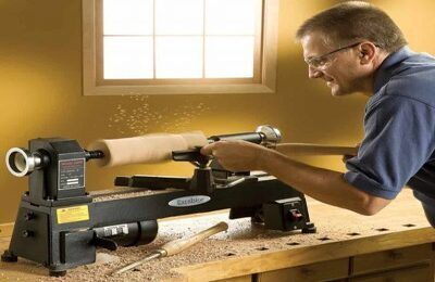Man using Wood Lathe